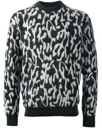 Jersey con cuello circular estampado en negro y blanco de Lanvin