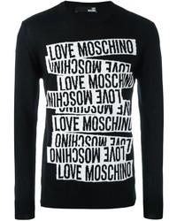 Jersey con cuello circular estampado en negro y blanco de Love Moschino