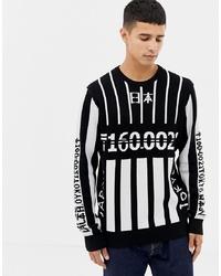 Jersey con cuello circular estampado en negro y blanco de ONLY & SONS