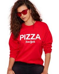 Jersey con cuello circular estampado en rojo y blanco