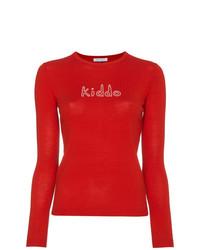 Jersey con cuello circular estampado en rojo y blanco de Bella Freud