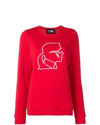 Jersey con cuello circular estampado en rojo y blanco de Karl Lagerfeld