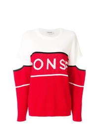 Jersey con cuello circular estampado en rojo y blanco de Monse