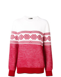 Jersey con cuello circular estampado en rojo y blanco de Z Zegna