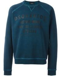 Jersey con cuello circular estampado en verde azulado de DSQUARED2