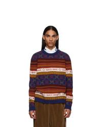 Jersey con cuello circular estampado en violeta de Gucci