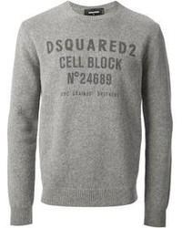 Jersey con cuello circular estampado gris de DSQUARED2