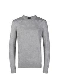 Jersey con cuello circular estampado gris de Emporio Armani