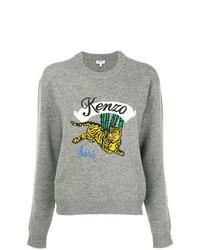 Jersey con cuello circular estampado gris de Kenzo