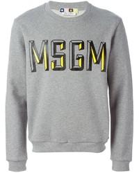 Jersey con cuello circular estampado gris de MSGM