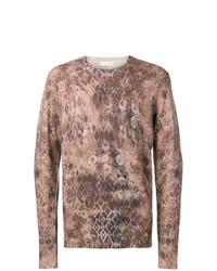 Jersey con cuello circular estampado marrón claro de Etro
