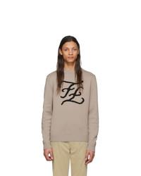 Jersey con cuello circular estampado marrón claro de Fendi