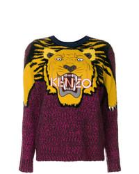 Jersey con cuello circular estampado morado oscuro de Kenzo