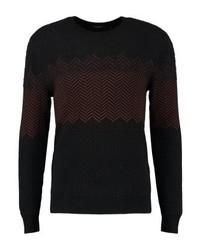 Jersey con cuello circular estampado negro de Calvin Klein