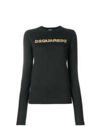 Jersey con cuello circular estampado negro de Dsquared2