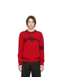 Jersey con cuello circular estampado rojo de Alexander McQueen