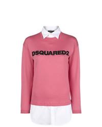 Jersey con cuello circular estampado rosa de Dsquared2