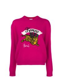 Jersey con cuello circular estampado rosa de Kenzo