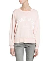 Jersey con cuello circular estampado rosado
