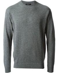 Jersey con cuello circular gris de Ermenegildo Zegna
