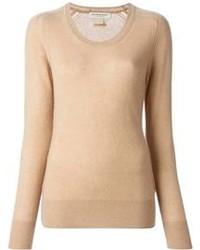 Jersey con cuello circular marrón claro