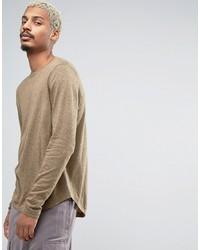 Jersey con cuello circular marrón claro de Asos