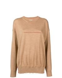 Jersey con cuello circular marrón claro de MM6 MAISON MARGIELA