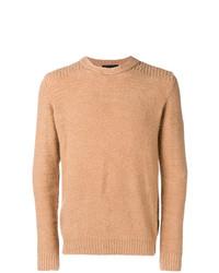 Jersey con cuello circular marrón claro de Roberto Collina