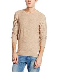 Jersey con cuello circular marrón claro de Tom Tailor Denim