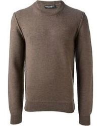 Jersey con cuello circular marrón de Dolce & Gabbana