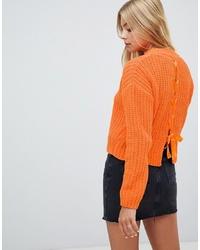 Jersey con cuello circular naranja de Miss Selfridge