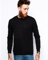 Jersey con cuello circular negro de Asos