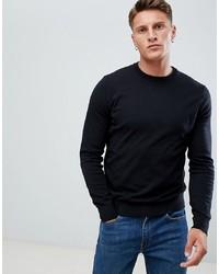 Jersey con cuello circular negro de Burton Menswear