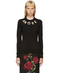 Jersey con cuello circular negro de Dolce & Gabbana