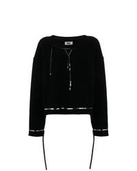 Jersey con cuello circular negro de MM6 MAISON MARGIELA