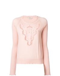 Jersey con cuello circular rosado de Fendi