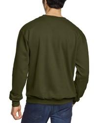Jersey con cuello circular verde oliva de Anvil