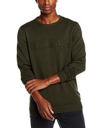 Jersey con cuello circular verde oliva de Calvin Klein