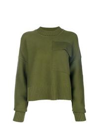 Jersey con cuello circular verde oliva de Jil Sander Navy