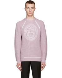 Jersey con cuello circular violeta claro de Versace