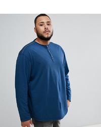 Jersey con cuello henley azul marino de replika