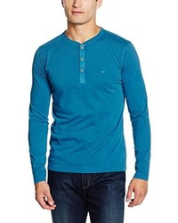 Jersey con cuello henley azul de camel active