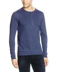 Jersey con cuello henley azul de Esprit