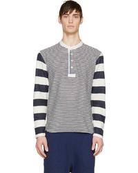 Jersey con cuello henley de rayas horizontales en azul marino y blanco de Junya Watanabe