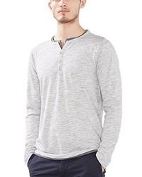 Jersey con cuello henley gris de Esprit