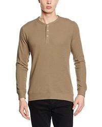 Jersey con cuello henley marrón claro de Esprit