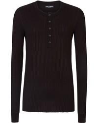 Jersey con cuello henley negro de Dolce & Gabbana