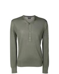 Jersey con cuello henley verde oliva de Tom Ford