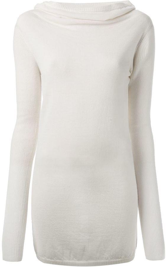 Jersey con cuello vuelto holgado blanco de Rick Owens