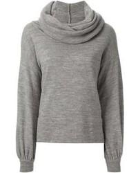 Jersey con cuello vuelto holgado gris